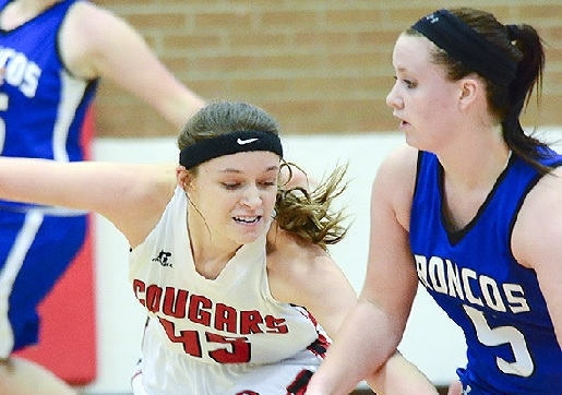 Sandy Creek senior Krista Johnson attempts to steal the ball during the Lady Cougars' 48-18 win over Centennial in Southern Nebraska Conference play in the Cougars' Den Dec. 11.