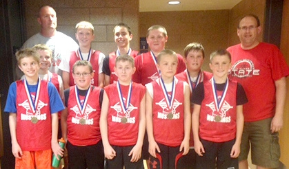 Members of the Sutton sixth grade basketball team to win gold in the MIT tournament this past weekend in Lincoln includes: in front, from the left: John Sheridan, Nathan Ladehoff, Jackson Anderson, Quenton Jones and Cade Wiseman. In the back, from the left: Joe Hinrichs, Tyler Baldwin, Wyatt Bergen, Hayden Switzer, and Dominic Girmus. Coaches: Chad Wiseman, Jon Ladehoff and (not pictured) Ryan Jones.