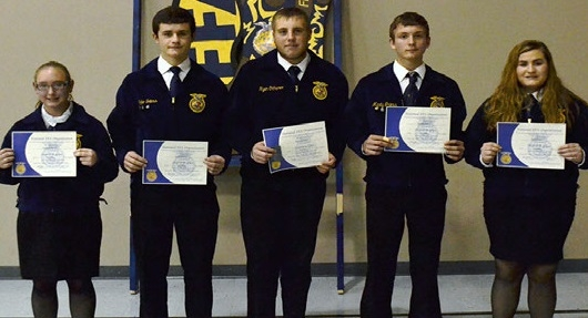 Chapter Degree Certificates were presented to Kaitlyn Winter, Jacob Griess, Ryan Ochsner, Marty Griess and Kayla Nuss