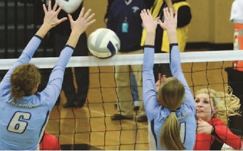 Sutton senior Delaney Lemkau gains one of her seven kills during the Fillies' first round state tournament loss to Freeman. Lemkau was 26-29 on the attack. The loss to the Falcons ended Sutton's season with an impressive 27-6 record. -CCN Photo by Tory Duncan